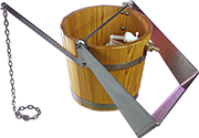 Sauna shower bucket including mechanism of water filling and holder for ceiling or wall assembly